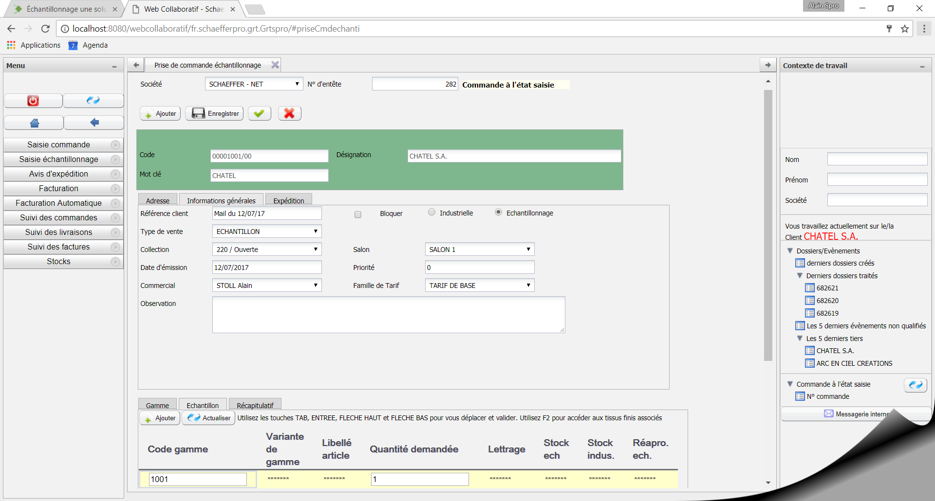 Exemple d'interface de E-ECHANT