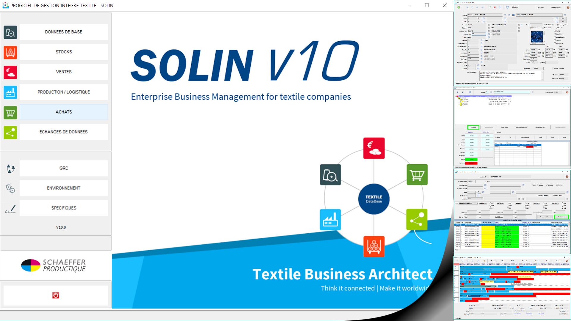 Ecran SOLIN V10 (ERP textile)